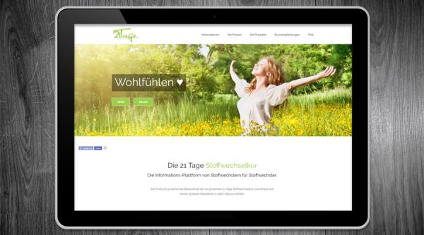 21 Tage Stoffwechselkur Website Online Marketing Projekt