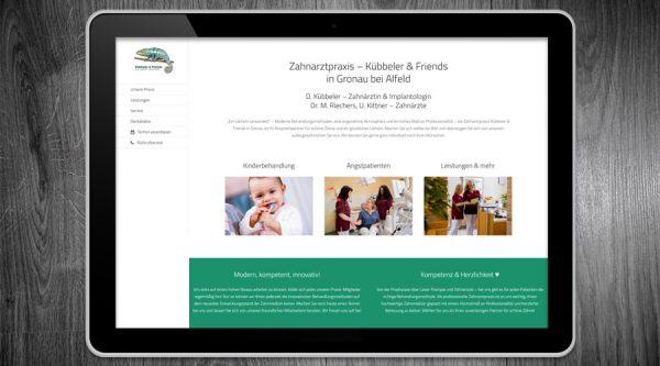 Kübbeler & Friends Zahnarzt Gronau / Alfeld Webdesign