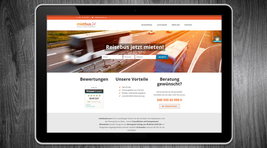 Mietbus24 - Busvermietung - Hamburg Webdesign