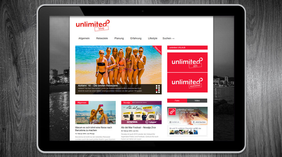 Unlimited Reisen - Blog Webauftritt - Hamburg